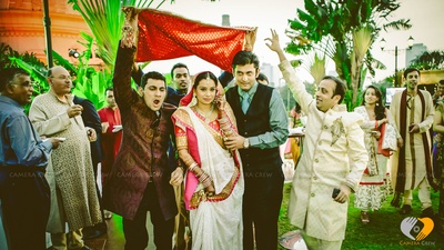 Pink and white wedding saree styled with an embellished pink blouse
