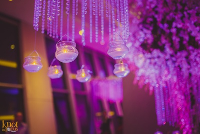 Crystal strings with twinkling tea lights