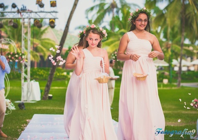 Pearl Mocha one shouldered flower girl dresses with a beautiful floral crown