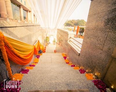 beautiful genda phool decor of the wedding venue