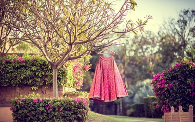 Traditional pink lehenga shot captured by Camera Crew for the wedding