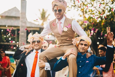 And the groom gets some special treatment, while dancing at his baraat!