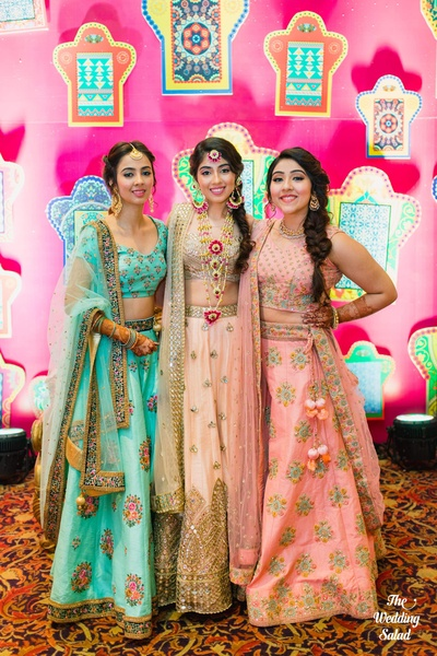 Bride and her bridesmaids posing for The Wedding Salad at the mehndi function