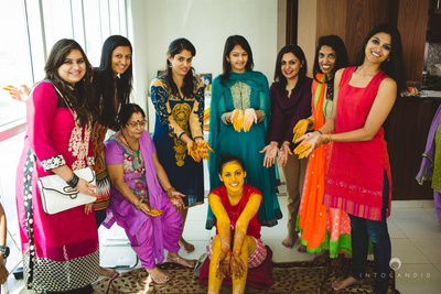 Bride with her girl gang on haldi ceremony day.