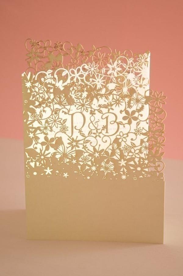 Folding Laser Cut Wedding Invitations