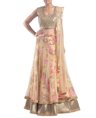 Beige raw silk embroidered lehenga