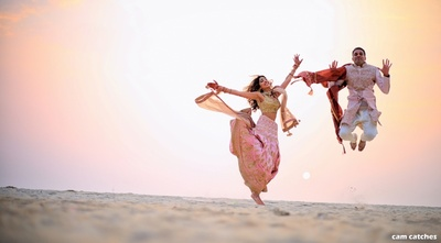 quirky post wedding photoshoot of the bride and groom