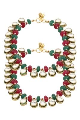 Dilan Jewels Antique Golden Polki Oval Anklets