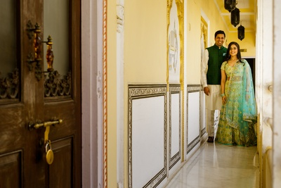 The bride and groom at their mehendi