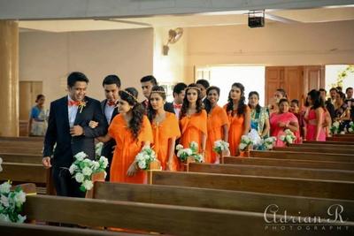 Tangerine boat neck bridesmaids dresses ideas