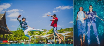 Arial and catchy photography done at poolside during the sunny day