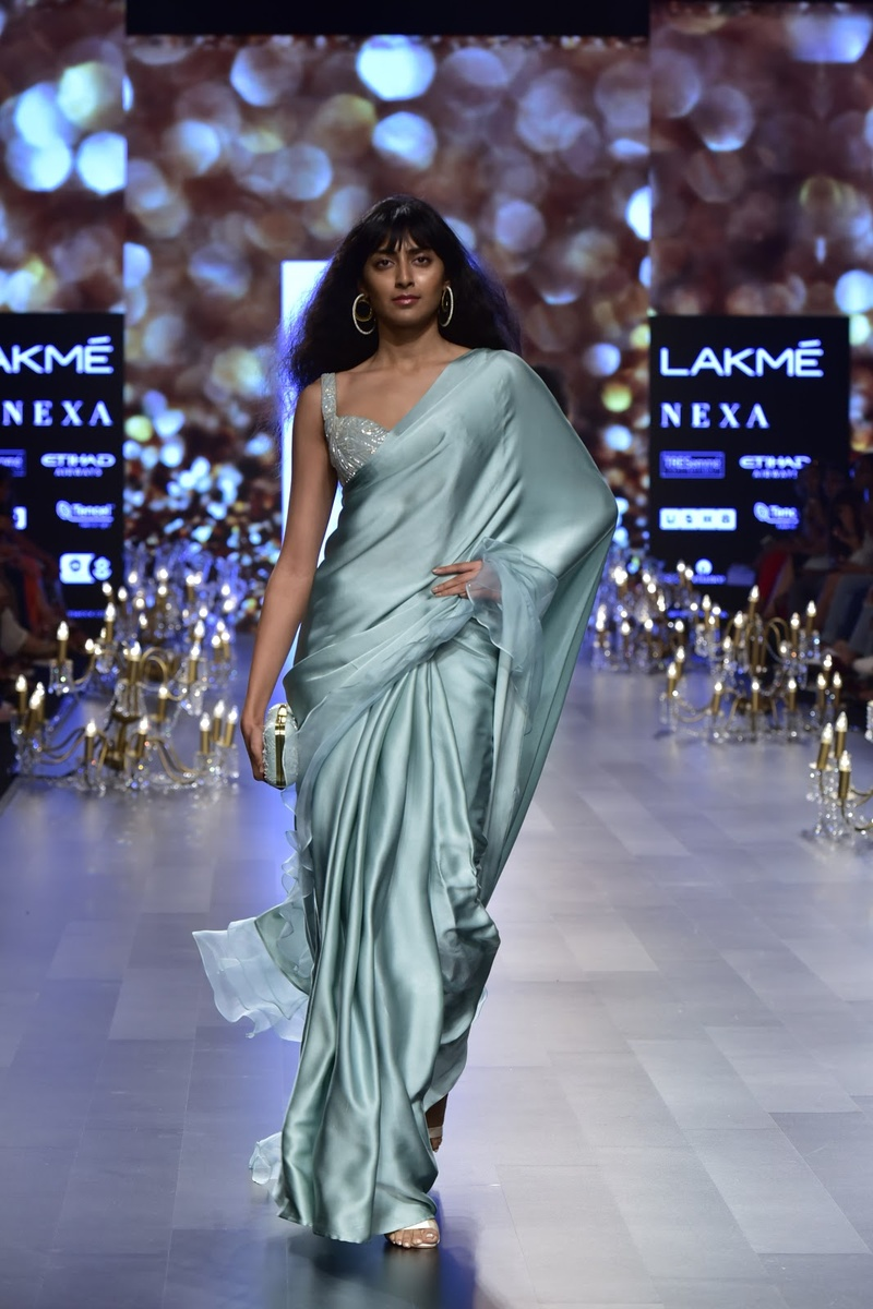 4. Ice blue satin saree for the win!