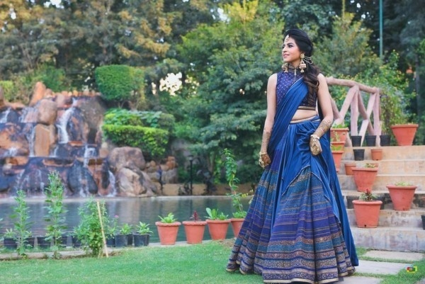 18. A Stunning Blue Lehenga With Copper Sequins
