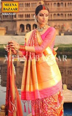 Meena Bazaar Peacock Handwoven Saree