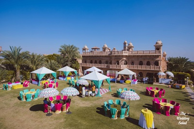 Pretty canopies, cabanas, seating areas for guests.
