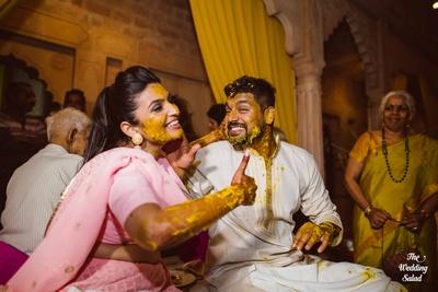 Arushi and Karthik having fun at their haldi