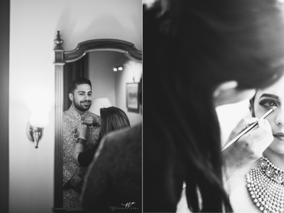 Close up shots of the bride and groom getting ready