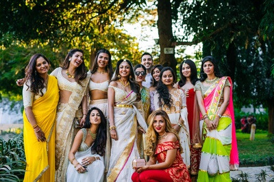 The bride with her squad