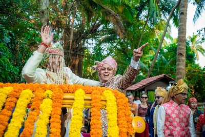 Groom entering the mandap with his baraat