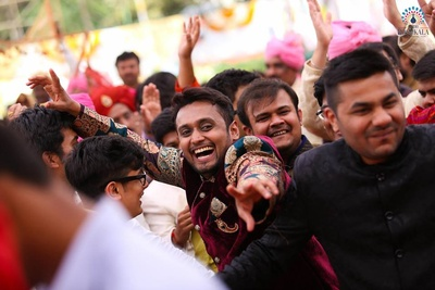 Baraatis dancing and enjoying the wedding celebrations