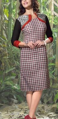 Viva N Diva Black, White & Red color Linen Kurti.