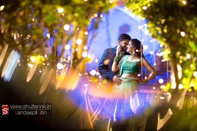 Wedding venue lit up with series lights
