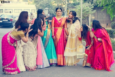 Aakriti and her bridesmaids .