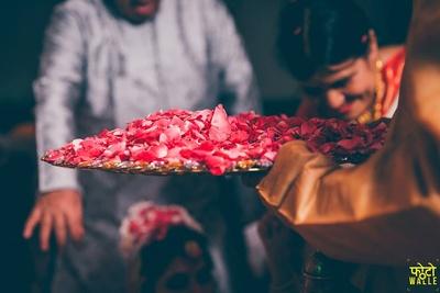 Fresh rose petals for the wedding ceremony.