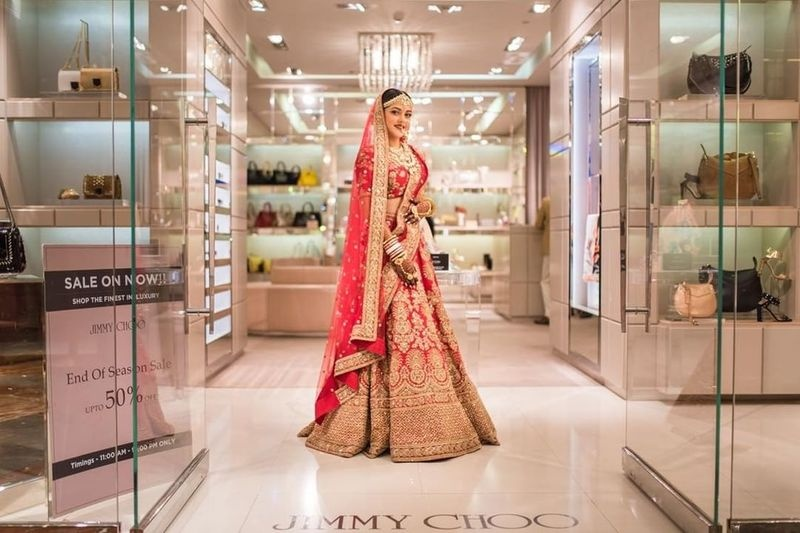 9bb78b66f6a Bride Dimple decided to kill her time by going to the nearby mall and shop  at Jimmy Choo! Her wedding was held at St. Regis in Mumbai