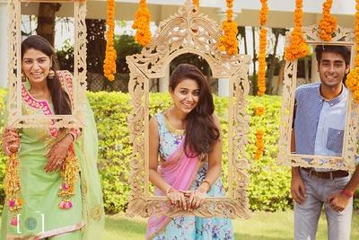 Fun photobooth installations at the Kaleere Ceremony held at Jehanuma palace lawns, Bhopal.