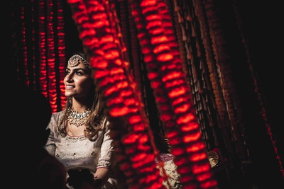 This is a unique and interesting click of the bride at her mehendi ceremony!