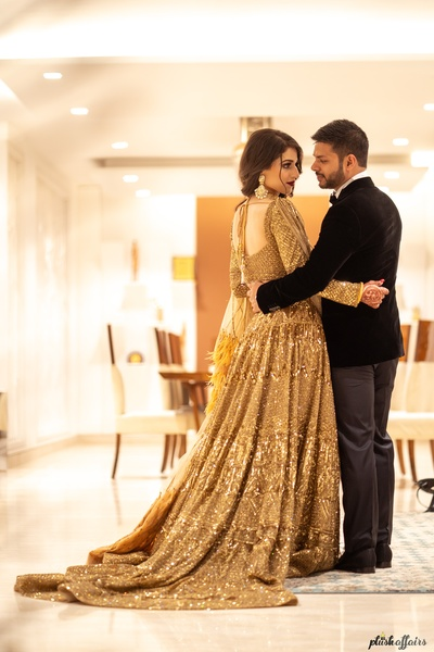 The bride and groom look breathtaking  at their walima  ceremony.