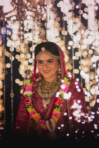 Beautiful capture of the bride post varmala with light background