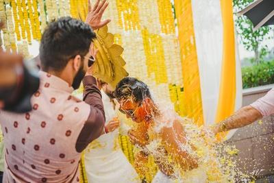 Traditional groom's haldi function in progress