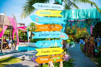An innovative , uber-cool and vibrant signage for a couple who has have memories at various locations across the globe!