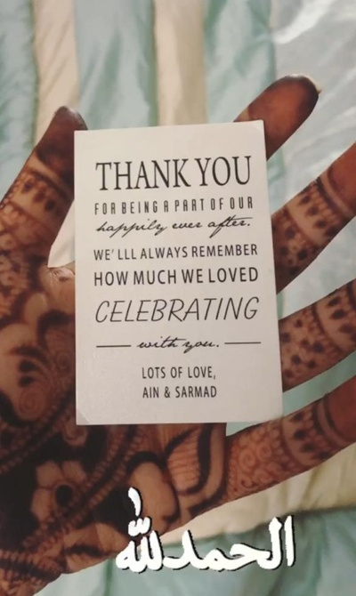 The note that accompanied the box of dry fruits gifted to the guests.