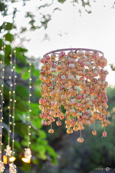 Floral chandelier style decor for the wedding ceremony