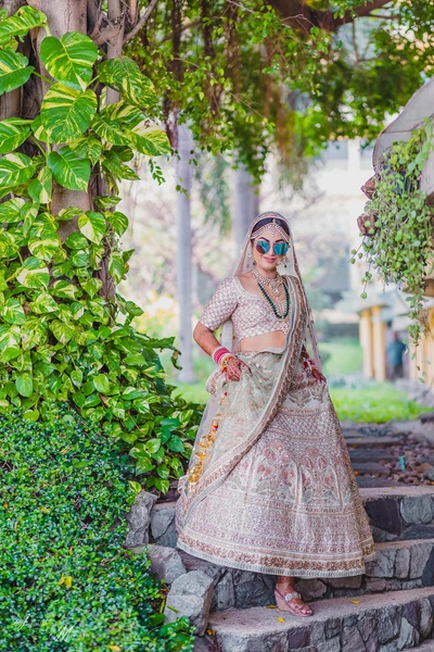 Quirky bridal portrait of Simi before the wedding