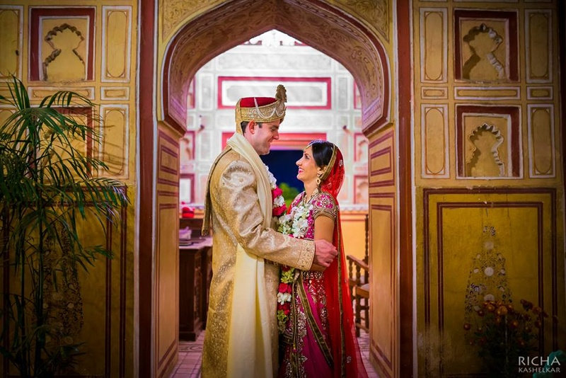 Cross-Cultural, Winter Wedding Held at Samode Palace, Jaipur.