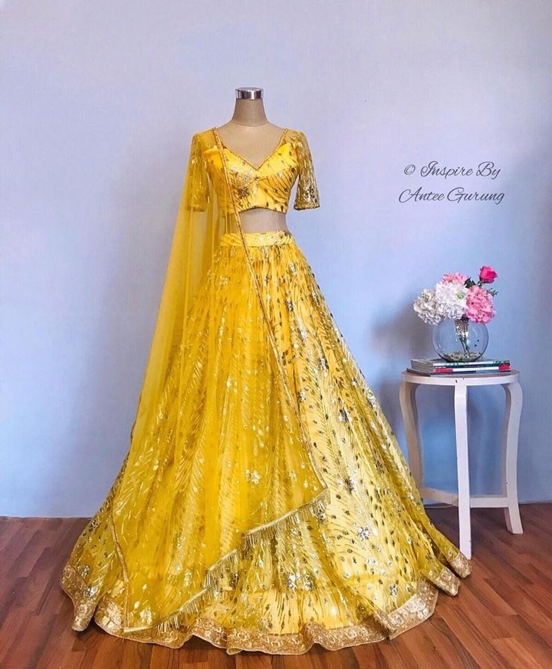 1) Raw Silk Embroidered Lehenga