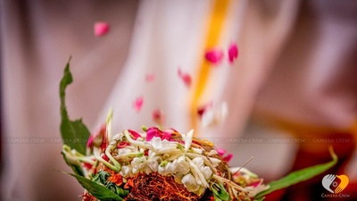 Jasmine,rose petals and mango leaves for the puja