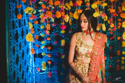 the beautiful bride at the  mehendi ceremony