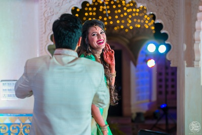 Candid picture of Devesh and Swati at their sangeet