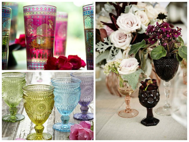 Refresh Your Wedding Decoration with Coloured Glassware