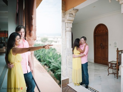 Royal pre wedding shoot in casual outfits at the grand Fatehgarh