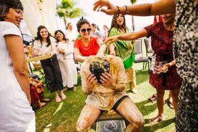 Woah, looks like the haldi ceremony has gone toooooo far!