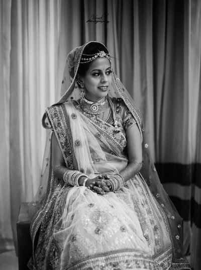 Black and white bridal photography.