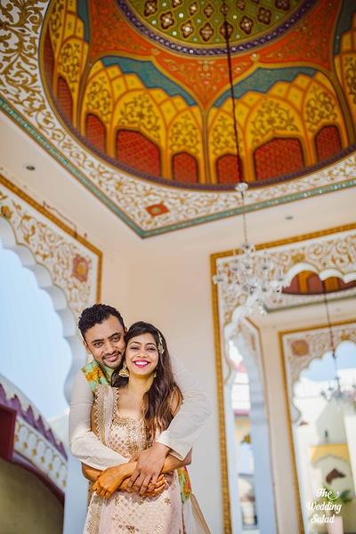 Tuhin and Garima strike a traditional pre wedding pose!