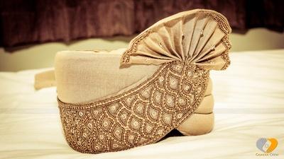 Embellished beige Safa for the groom