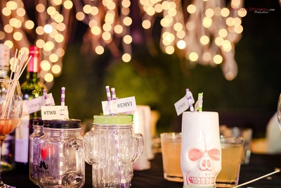 Themed decor items for the sangeet function of the bride and groom